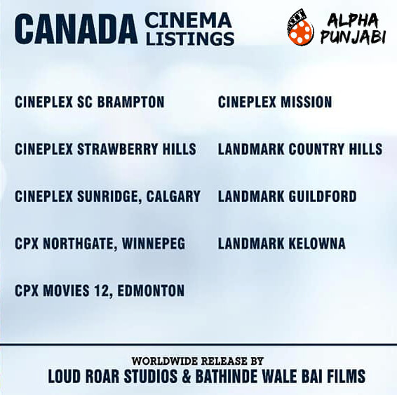 Canada Cinema Listings,